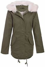 New Womens Pale Pink Fur Hooded Fleece Lined Parka Jacket Winter Coat 4-12