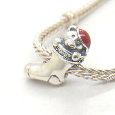 Authentic Genuine S925 Silver Red Enamel Christmas Stocking CZ Bead Charm