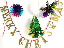 CHRISTMAS XMAS METALLIC FOIL CEILING FAN HANGING/BUNTING HOME DECORATION,BANNER