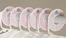 Elephant girl pink #c39 Baby Closet Dividers Clothes Organizers 6 chevron polka