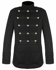 Men's Handmade Black Military Jacket Goth Steampunk Vintage Pea Coat 100% Cotton