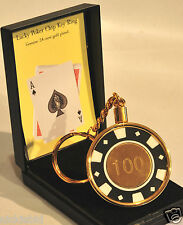 POKER CHIP KEYRINGS - 24ct GOLD PLATED OR NICKEL - NEW BOXED - IDEAL GIFT