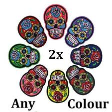 Colour Skull Embroidered Cloth Iron On Patch Sew Motif Appliques Art Crafts 2pcs