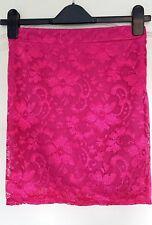 Ladies floral Lace look mini bodycon skirt hot pink Size 8 BNWT