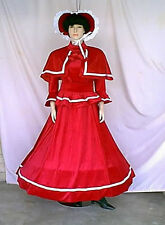 Victorian Dickens Christmas Red Velvet with White Trim 5 Piece Caroling Costume