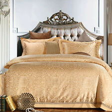Chabby Chic Euro Satin Jacquard Egyptian Cotton Queen Bedding Quilt Cover Sets