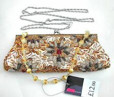 Gold Evening / Party bag mainly gold + multicolour sequins beads MWT free post