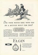 Vintage Magazine Ad - 1927 - Elgin Watch - Bicycle Built For Two