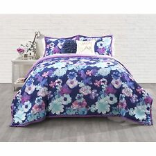 Transitional Blue Purple Girls Teens Floral 3-PC Comforter Set Full/Queen Twin