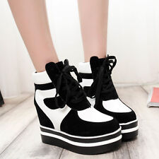 High Top Trainers Platform Creeper Womens Hidden Wedge Sneakers Lace Up Shoes