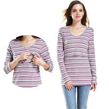 New Women's Striped Long Sleeve Maternity Tops Breastfeeding Clothes Nursing Top