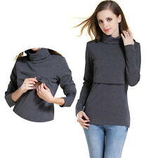 Long Sleeve Maternity Nursing T-Shirt Turtleneck Jumper Breastfeeding Top S-XXL
