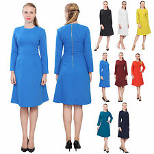 WOMENS ELEGANT WORK OFFICE BUSINESS DRESS LONG SLEEVE A LINE KNEE LENGTH DRESSES
