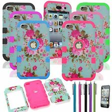 Heavy Duty Hybrid Silicone Hard Soft Case For iPod Touch 4 4th Gen Cover Flower