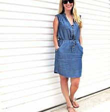 NEW LADIES MIDI FLORAL & NAVY & CHAMBRAY ZIP DRESS SIZE 6-8-10-12-14/16 ON SALE