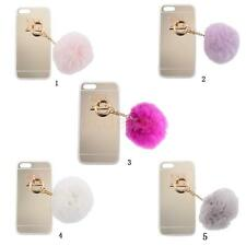 Luxury Cute Artificial Rabbit Fur Ball Soft Glod Case Cover Back for iPhone 5 5S