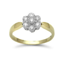 Jewelco London 9ct Gold Diamond 7 Stone Daisy Cluster Ring 39pts