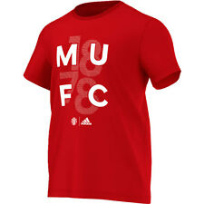 adidas Manchester United  2016 - 2017 Soccer Fan MUFC Tee Shirt Brand New Red