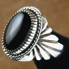 Onyx and Silver Navajo Mens Ring Any Size