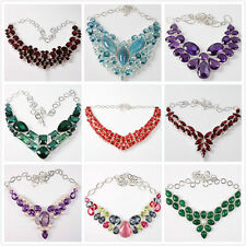 5pcs Women's Silver Plated Mixed Resin Rhinestone Alloy Necklace With Gift Box L