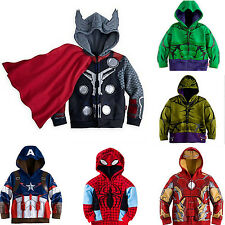 Kids Toddler Boys Zipper Cosplay Superhero Hooded Jacket Coat Hoodie Jumper Tops