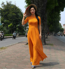 Orange Vietnam Ao Dai, Chiffon Dress, Pant, Short Sleeves, Neck, Arm Decoration