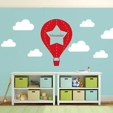 Personalised Star Hot Air Balloon Wall Sticker with Clouds - Kids Vinyl Decal Wa