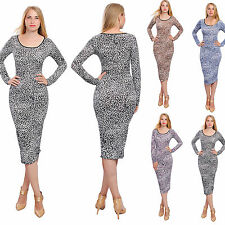 WOMENS BODYCON MIDI DRESS LONG SLEEVE LEOPARD CASUAL COCKTAIL EVENING DRESSES