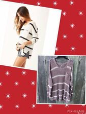 Free People SZ XS Greenwich Village Pullover Knit Sweater Top Ivory,Taupe New
