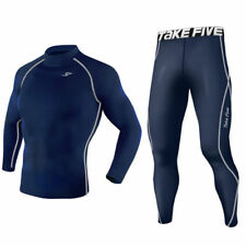 Mens Navy Baselayer Armour Compression Shirt Top Pants Set Tights Trousers Gym
