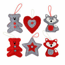 Christmas Tree Decorations Red & Grey Felt Fabric Heart Animal Star 3 Designs