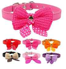 Dog collar Pet Cat Puppy Knit Bowknot Adjustable PU leather Puppy Perro Necklace