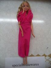 Barbie Doll with Long Blond Hair Wearing Pink Gown & Necklace VGC