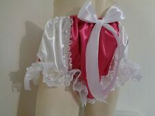 ADULT SISSY FRILLY HOT PINK/WHITE SATIN  PANTIES BLOOMER DRESSUP BABY MEN GIRL