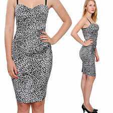 BODYCON BUSTIER MINI DRESS LEOPARD COCKTAIL EVENING PARTY CLUB DRESSES A1862