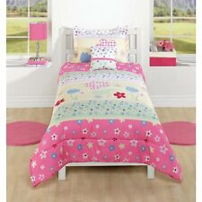 Playful Girls Floral Pink Yellow 3 or 2-PC Comforter Set Full or Twin NEW