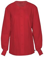 Cherokee Workwear Scrub Unisex Snap Front Jacket 34350A REDW Red Free Shipping