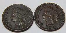 1881 & 1892 Indian Head Penny Cent Coin  - Lot of 2 Better Date Coins - XF Detai