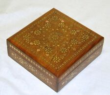 JEWELLERY TRINKET MOMENTO BOX Hand Carved Wood Box Brass Copper Inlay Inlaid