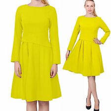 YELLOW WOMEN'S ELEGANT WEAR TO WORK OFFICE BUSINESS CLASSY RETRO MIDI TEA DRESS