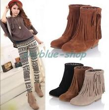 Ladies Faux Suede Fringe Tassel Hidden Wedge Heels Pull On Ankle Boots Shoes New