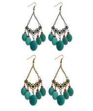 "EVE 3.75"" BRONZE SILVER TONE METAL FAUX TURQUOISE ACRYLIC HOOK DROP EARRINGS NEW"