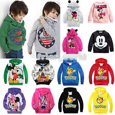 Kids Girls Boys Long Sleeve Mickey Pikachu Costume Jumper Tops Hoodie Sweatshirt