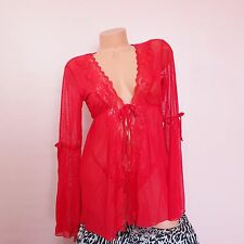 Lovely Day Lingerie 2 Piece Sheer Robe Babydoll Thong Set Lace Mesh Red