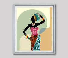 African American Woman Art Print African Black Woman Ethnic Poster Painting