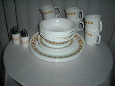 6 dinner, lunch, cereal bowls,mugs,salt & pepper shakers-Butterfly Gold Corelle