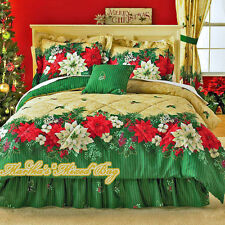 CHRISTMAS Bedding HOLIDAY POINSETTIAS Red Green Gold 4pc Comforter Set