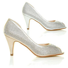 Gold/Silver Diamante Peep-Toe Mid Heel Embellished Christmas Wedding Court Shoes