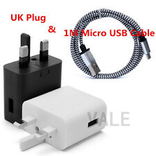 Over 2A UK Plug Wall Charge Travel Adapter+1M Micro USB Date Sync Charging Cable