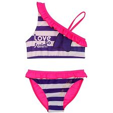 Girls Kid Two Piece Striped Bikini Swimsuit Swimwear Bathers Swimmers Size 6M-6